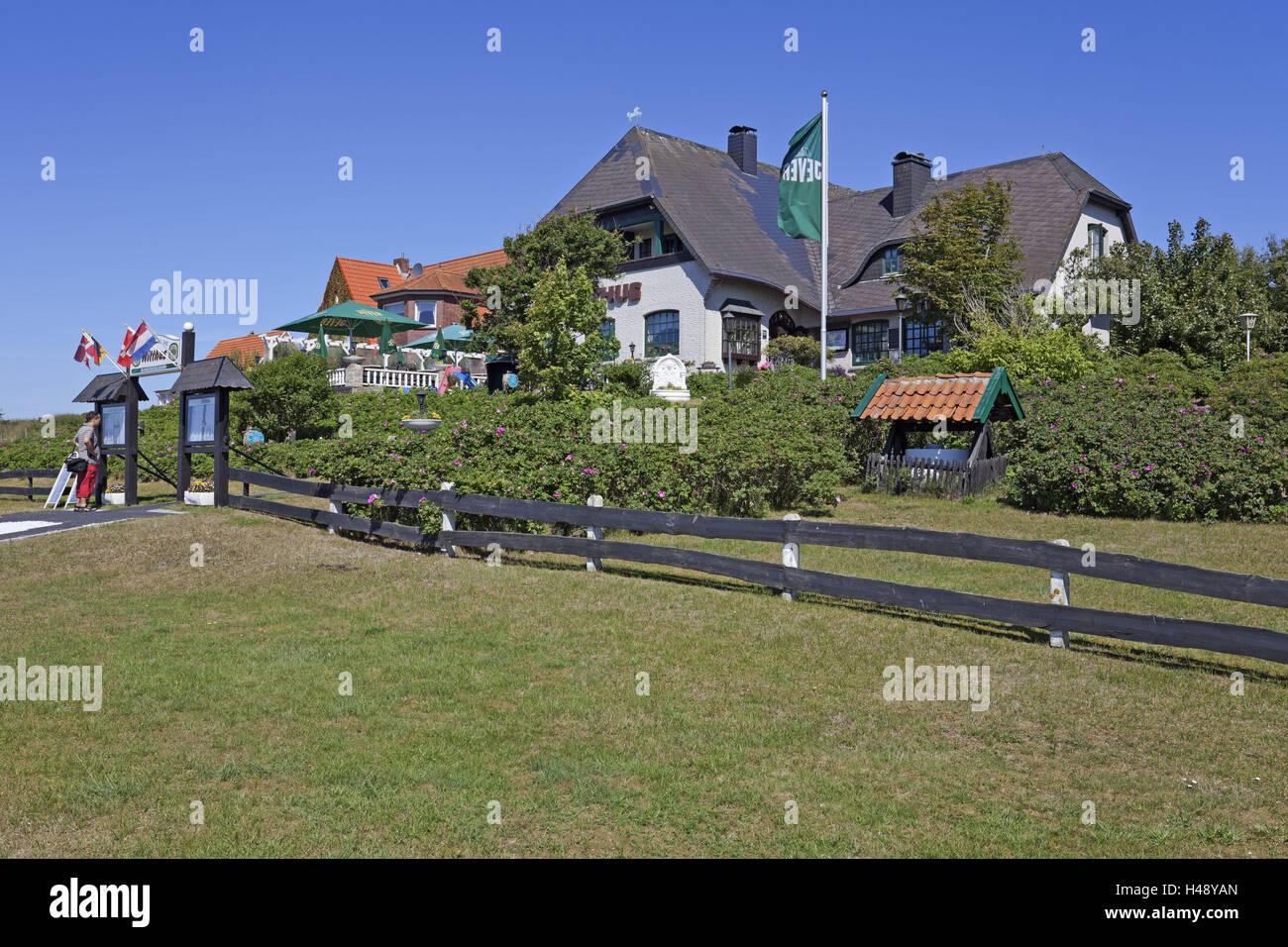 Vista local, restaurante 'Witthus', isla Baltrum, Foto de stock