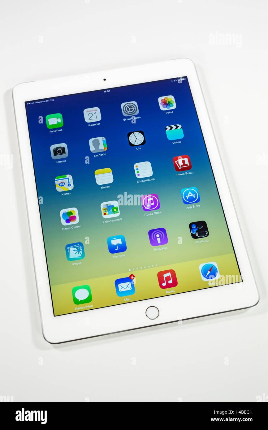 Aire iPad 2, pantalla, aplicaciones, programas multi-función táctil, Imagen De Stock