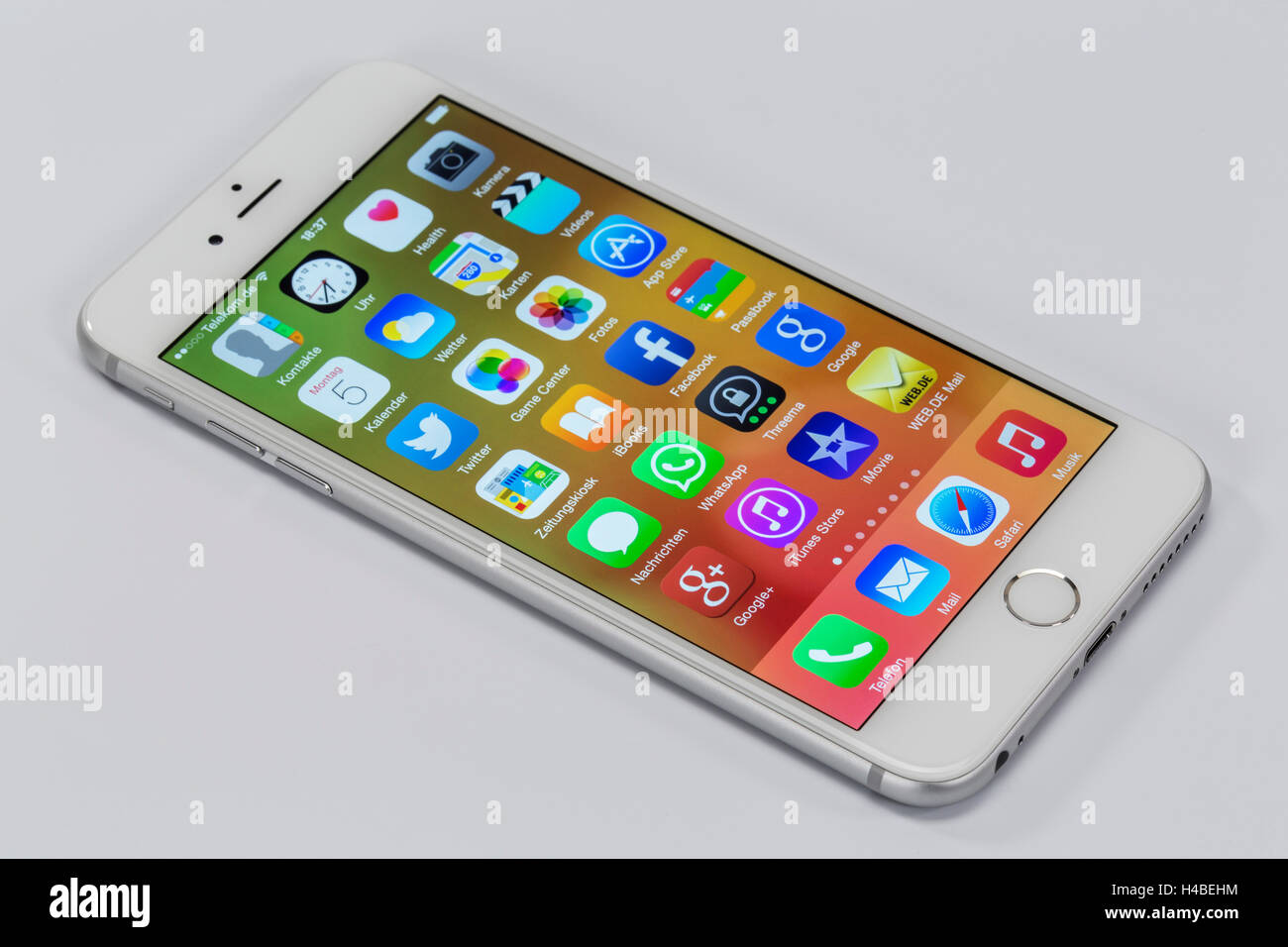 Apple iPhone 6 plus, pantalla, aplicaciones, programas multi-función táctil, Imagen De Stock