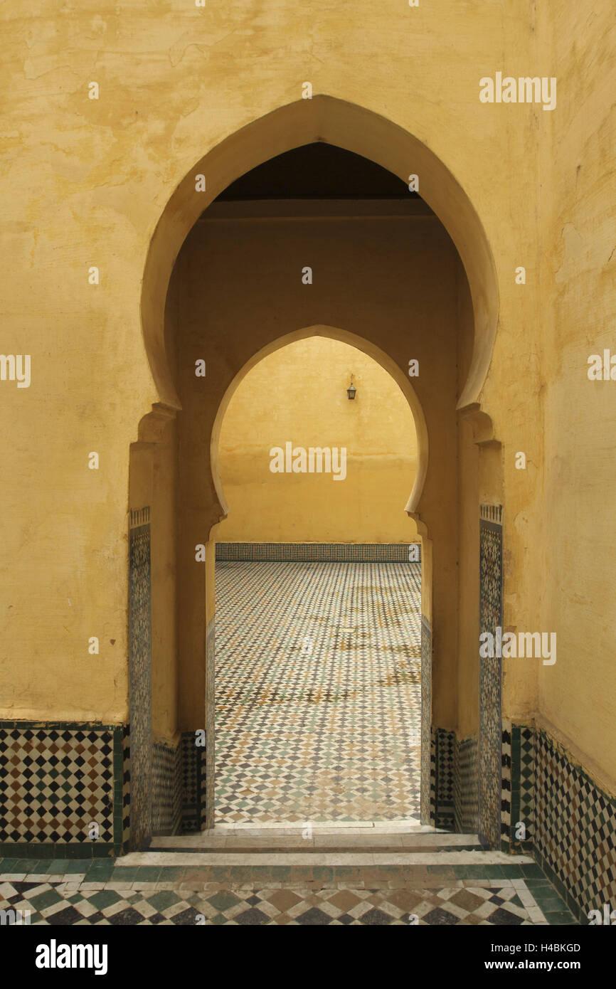 África, MARRUECOS, Meknes, mausoleo de Moulay Ismail, Foto de stock