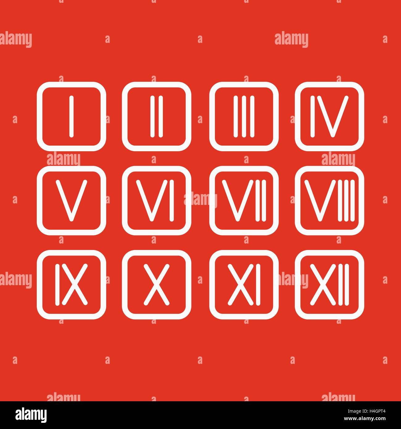 Establecer Números Romanos 1 12 Icono Ilustración Del Vector Imagen