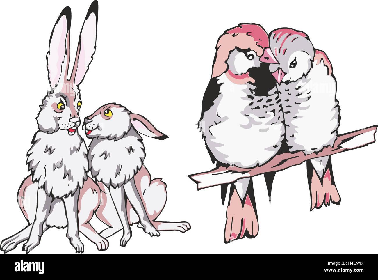 Serie De Dibujos Animados De Parejas De Animales En El Amor Dos