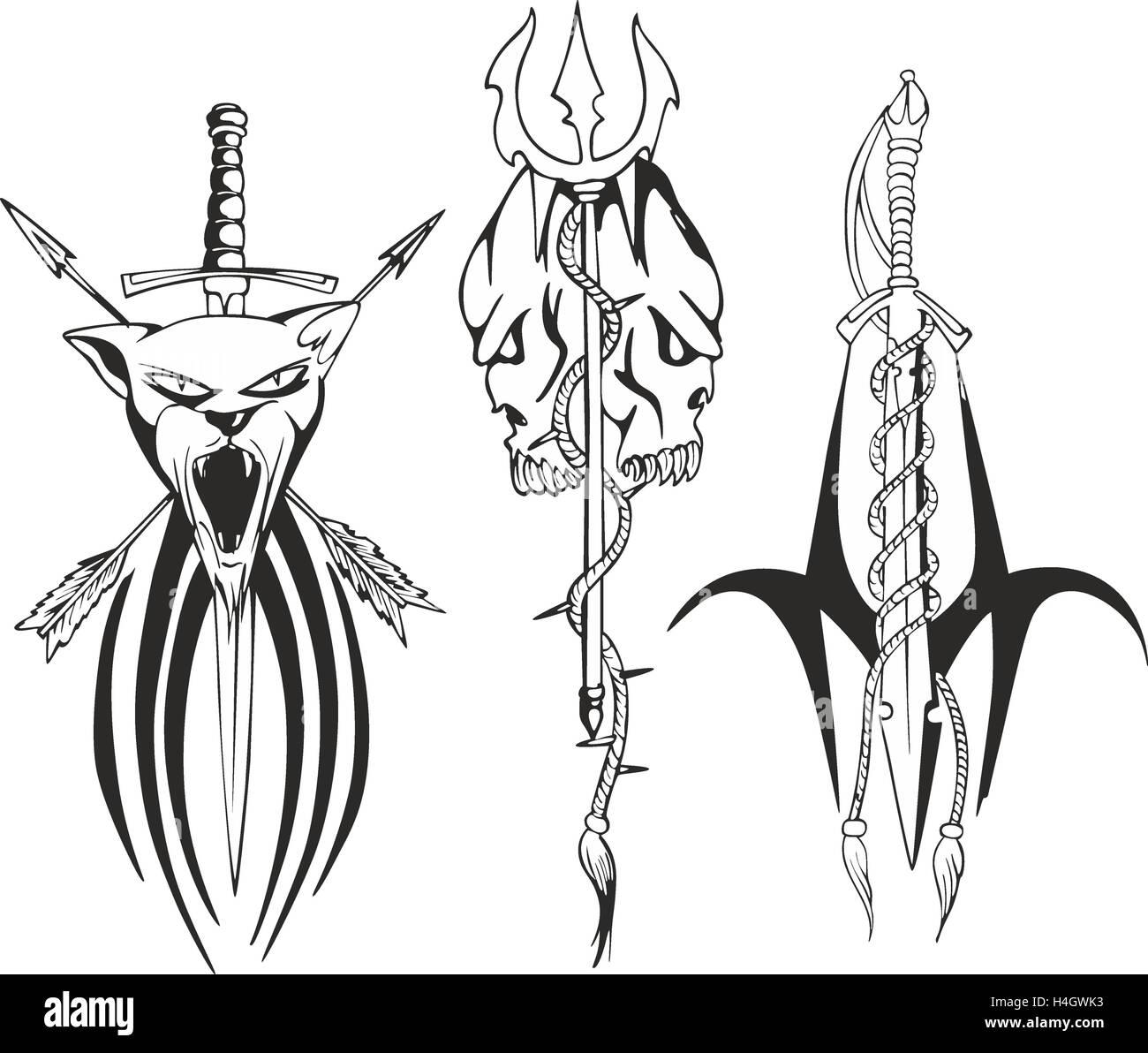 Juego De Fantasía Tribales Bocetos Con Cabeza De Pantera Cráneos Y