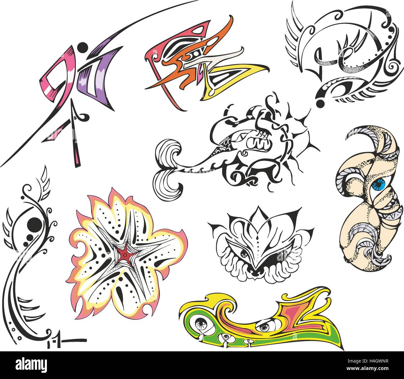 Recopilación De Varios Bocetos De Tatuajes De Fantasía Incluyendo