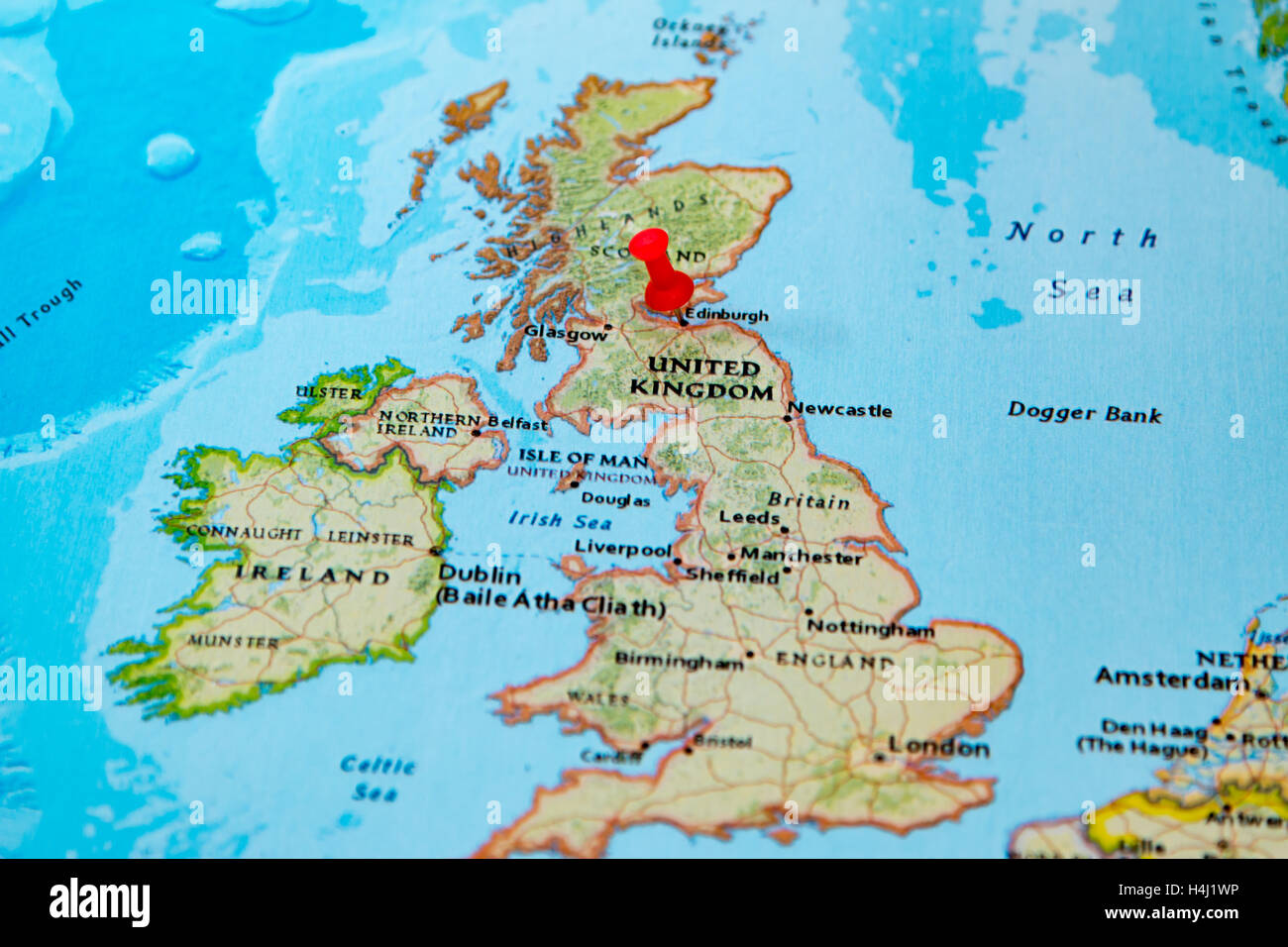 Edimburgo Escocia Anclado En Un Mapa De Europa Foto Imagen De