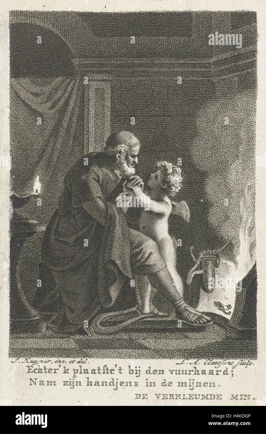 Amor calienta las manos de un hombre viejo, Lambertus Antonius Claessens, 1803 Imagen De Stock