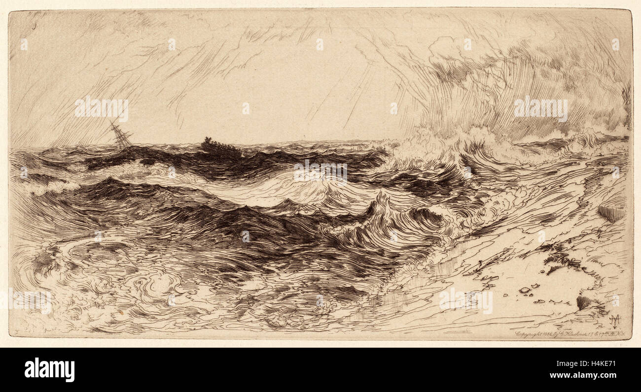Thomas Moran, el resonante Mar, Americana, 1837 - 1926, 1886, grabado Imagen De Stock