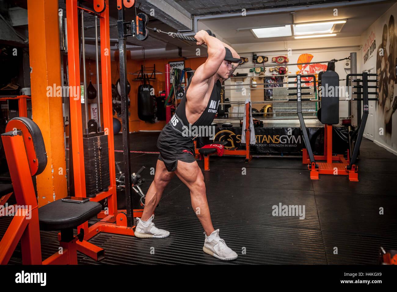 Culturista ejercicio en el gimnasio. Imagen De Stock