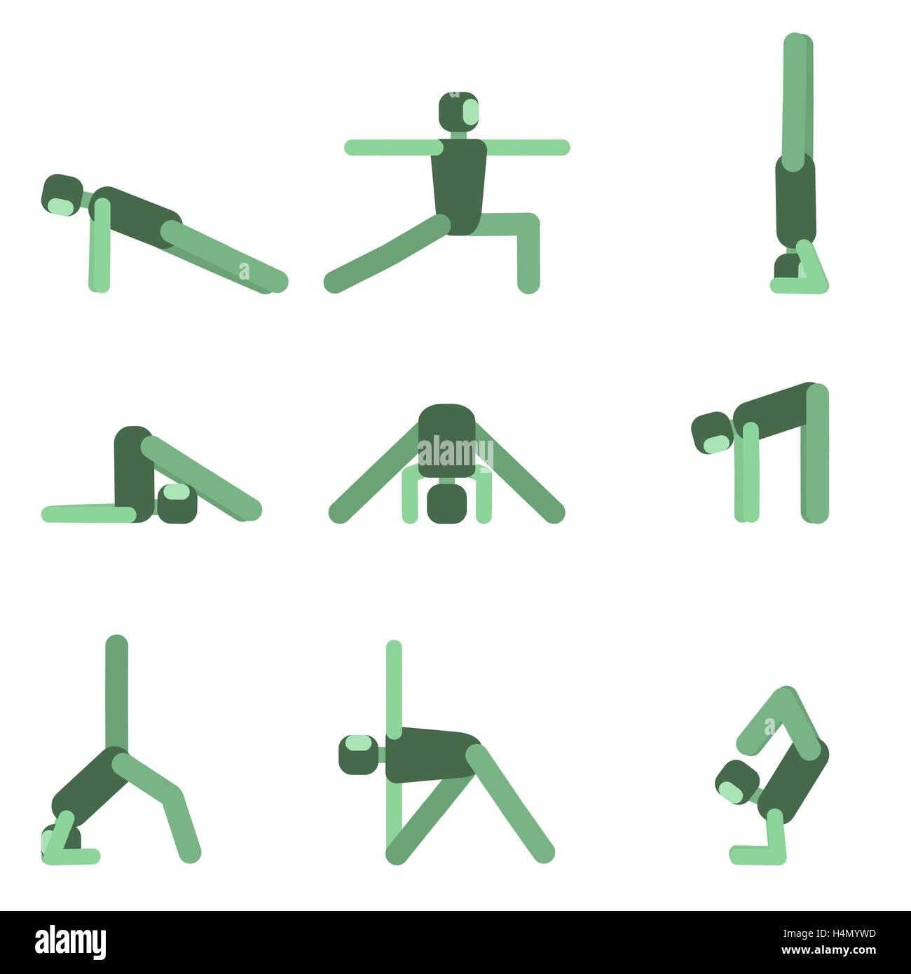 El Yoga plantea el conjunto de iconos. Colección de asanas.ilustración  vectorial. 12ce6f0ddd8c