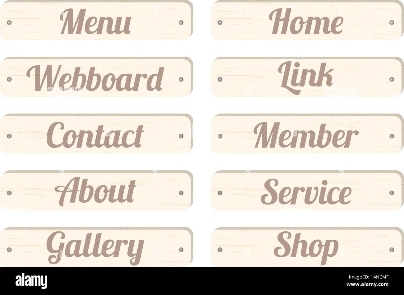 Barra de menú panel de madera con una redacción menu home contacto ...