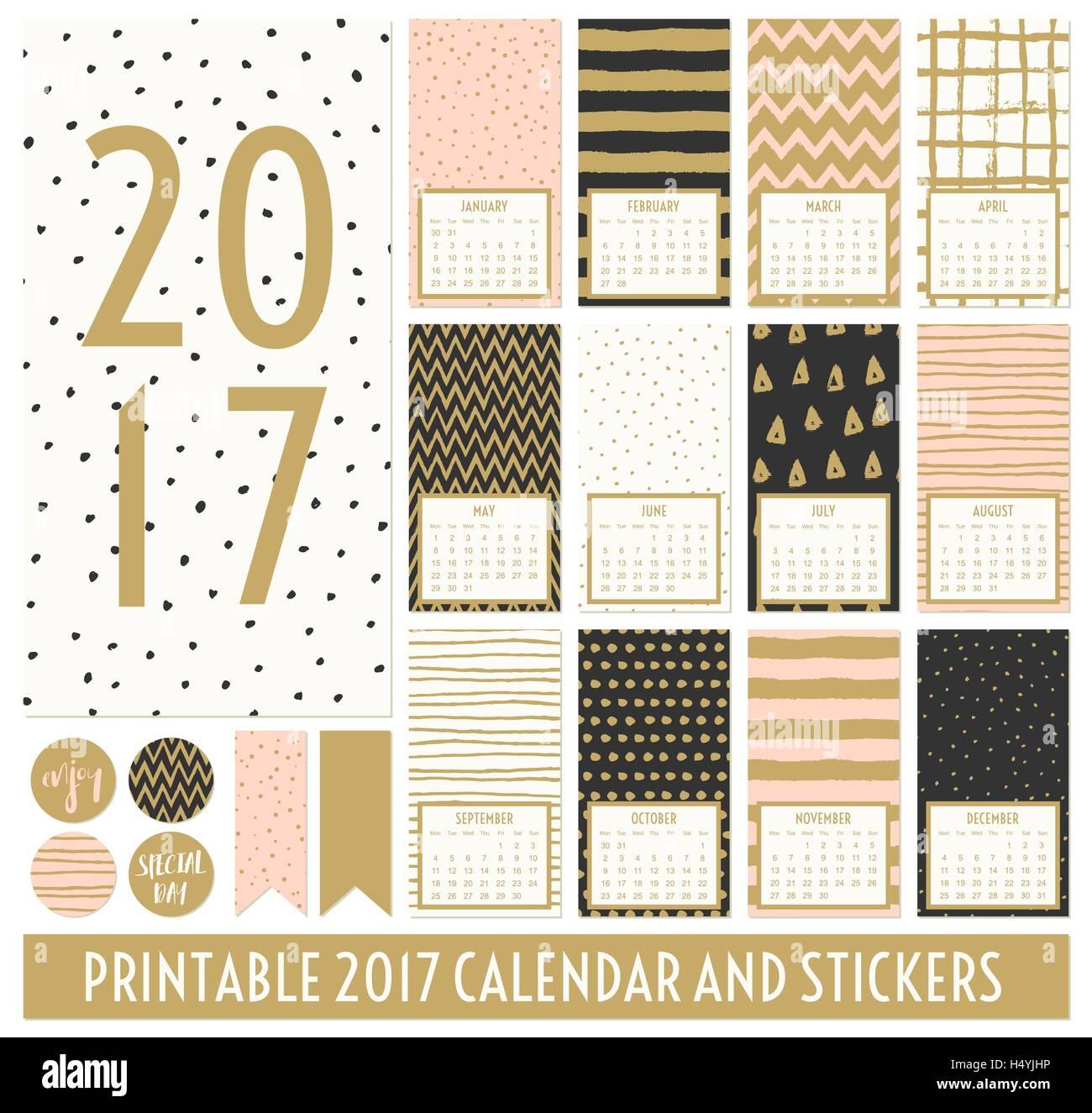 Los doce meses de 2017 plantillas de calendario. Patrones dibujados ...