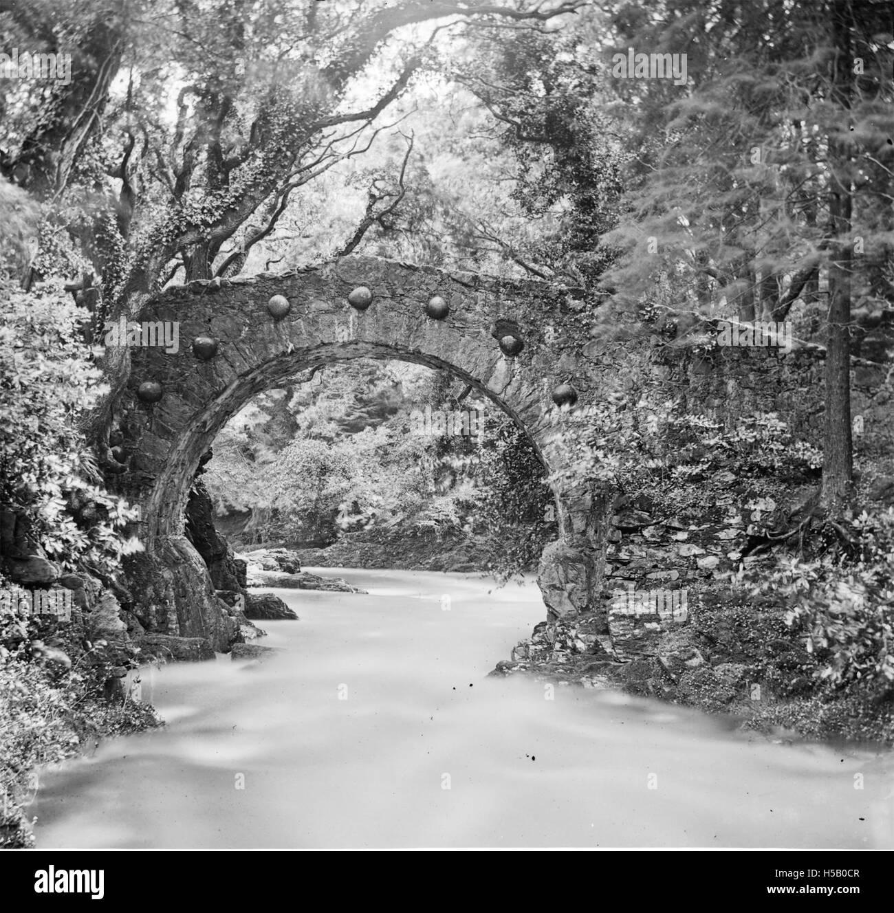"""""""Puente de arco redondo sobre el río en maderas, siete jefes de arco redondo' = Foley's Bridge, Tollymore Foto de stock"""