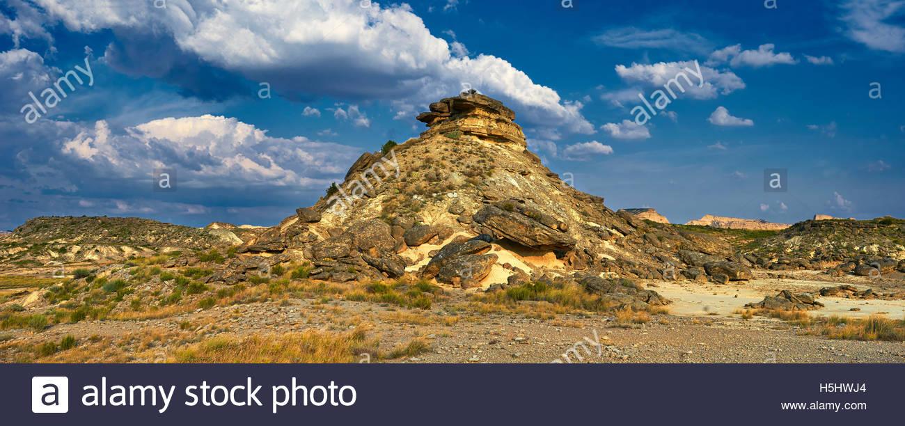 La Bardena Blanca formaciones rocosas Bardenas Reales de Navarra Parque Natural. Un sitio de Patrimonio Mundial Imagen De Stock
