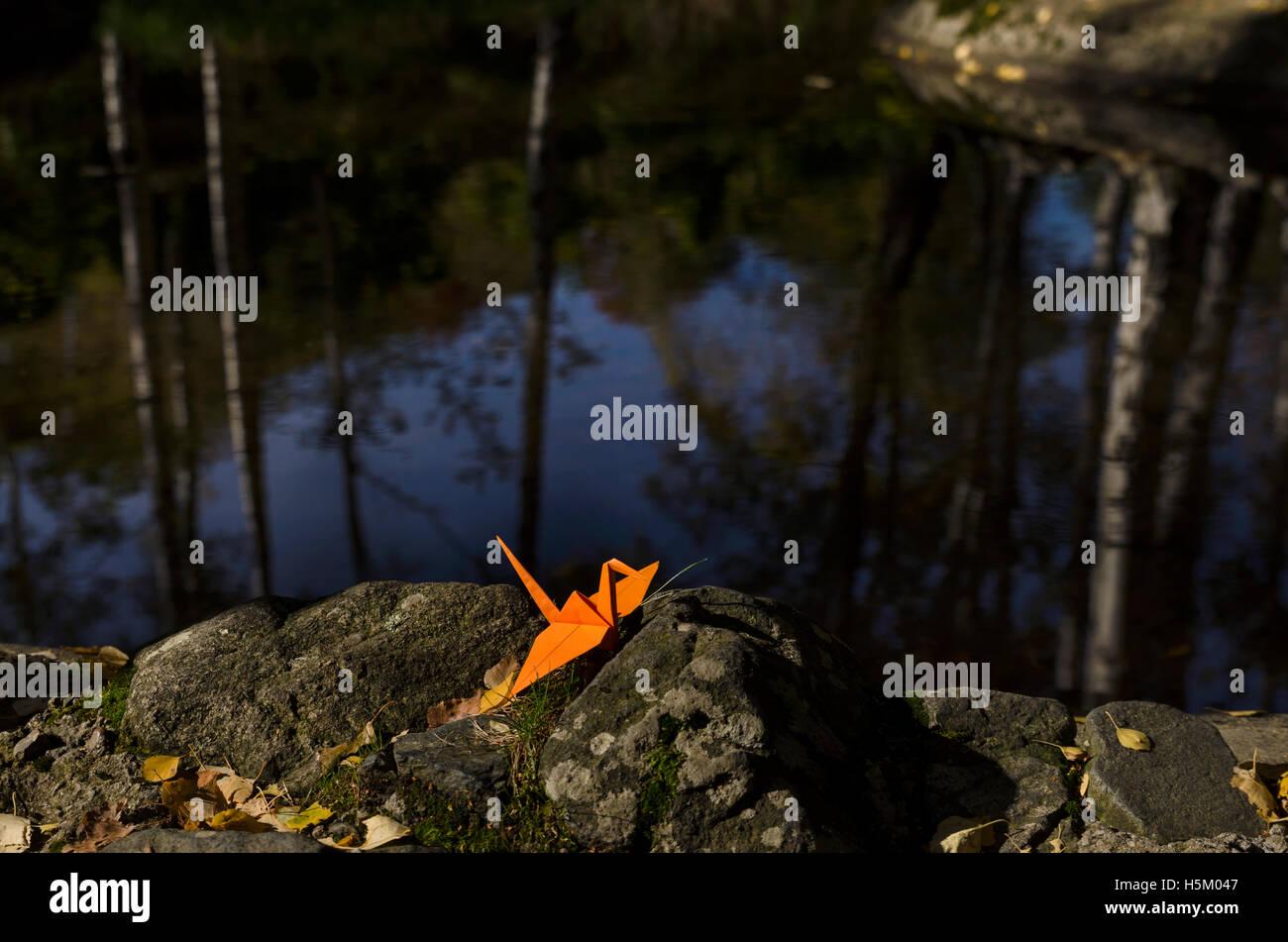 Origami naranja grúa y reflejos de agua Imagen De Stock
