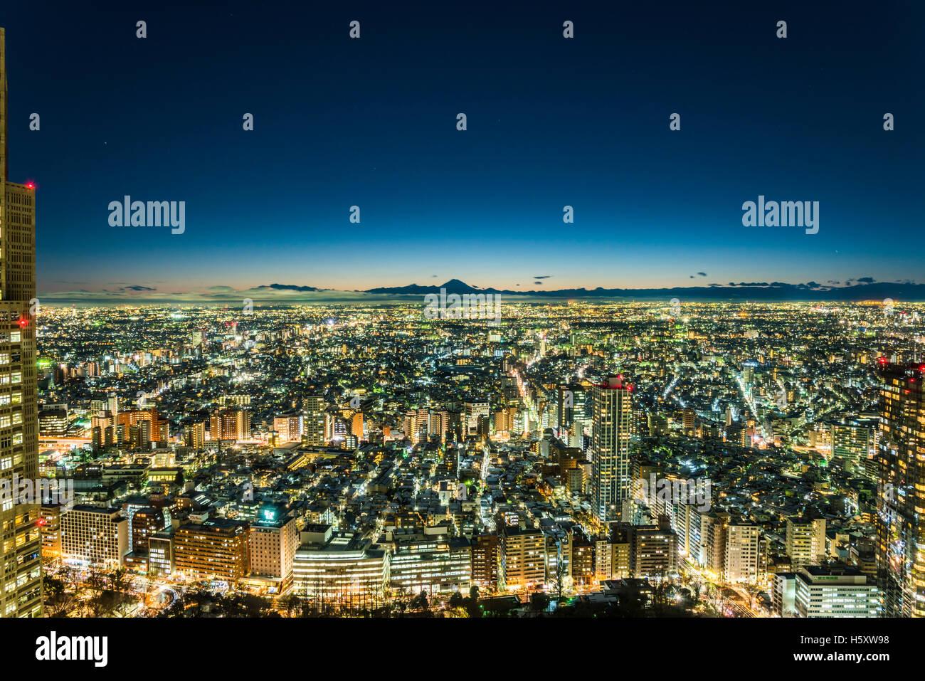 Snowy Tokio y Mt.Fuji, vista desde Shinjuku, Tokio, Japón Imagen De Stock