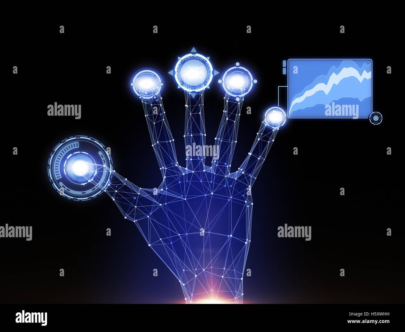 Toques de mano digital interfaz Ciencia-ficción. Imagen De Stock