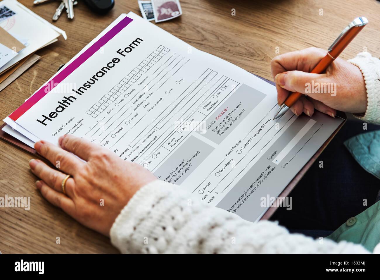 Seguro de Salud El concepto de formulario de salud Imagen De Stock