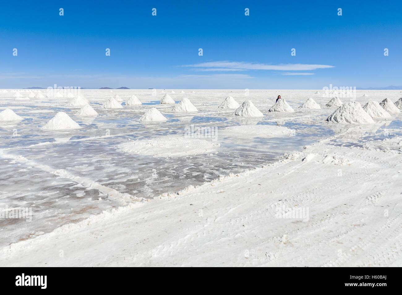 Los montones de sal en el Salar de Uyuni, el salar más grande en el mundo, Bolivia Imagen De Stock