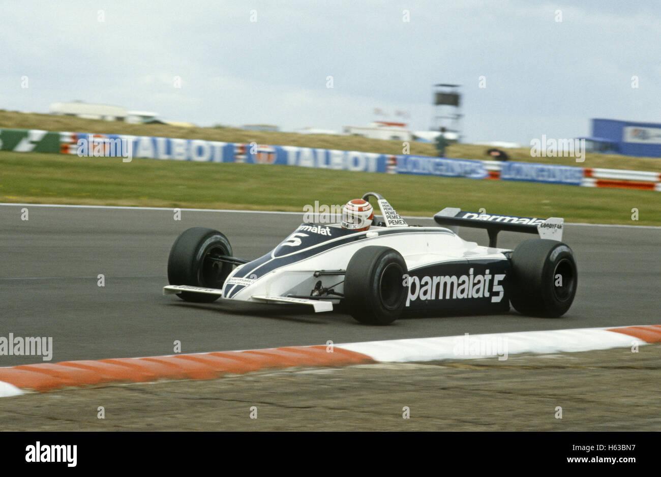 5 Nelson Piquet en un Brabham Cosworth terminó segundo en el GP de Gran Bretaña el 13 de julio de 1980 Imagen De Stock