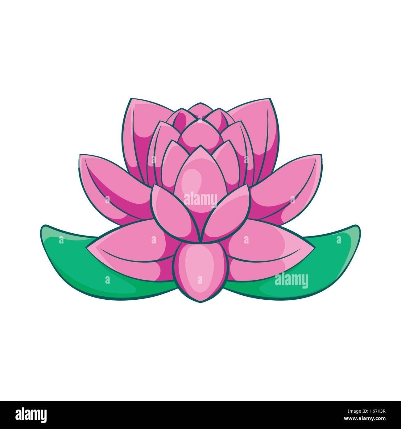 Rosa Flor De Loto El Icono De Estilo De Dibujos Animados