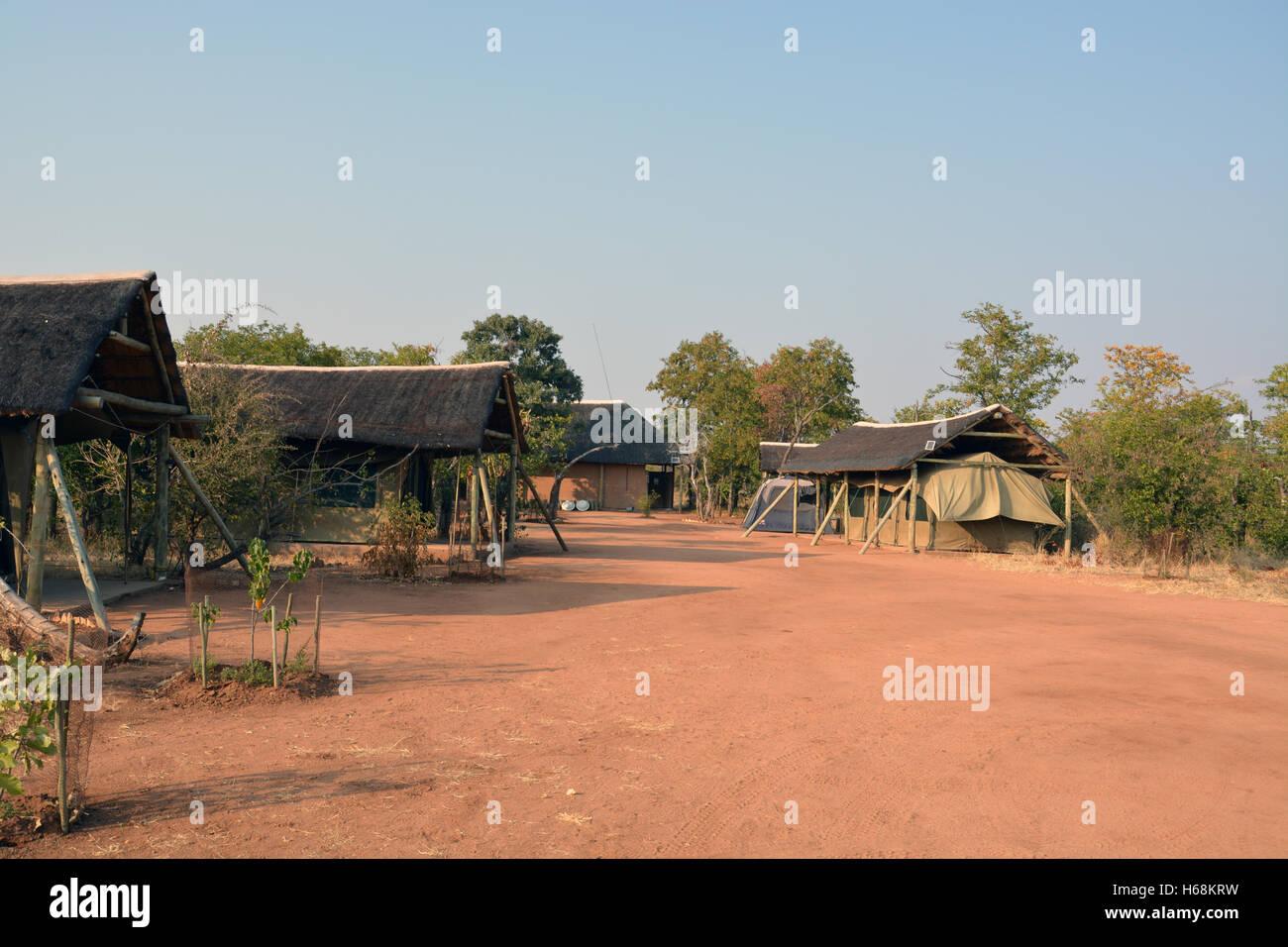 Un voluntario safari camp ubicado en el Tuli región salvaje de Botswana, África. Imagen De Stock