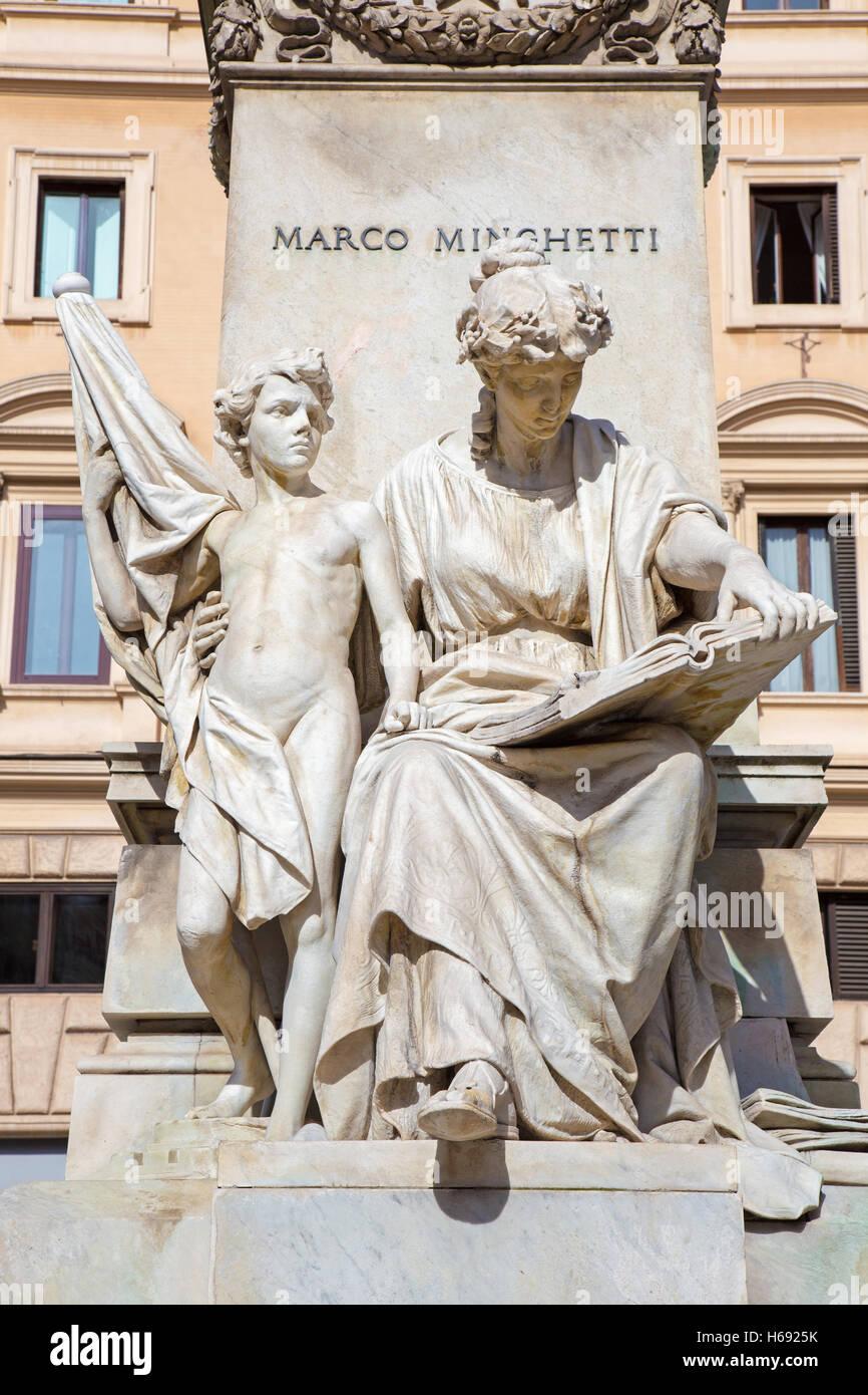 """Roma, Italia, 12 de marzo de 2016: El grupo escultórico de mármol """"la política y la gente"""" Imagen De Stock"""