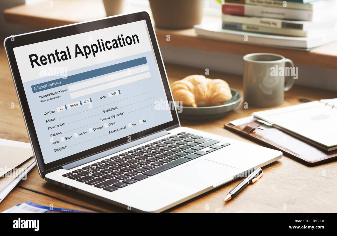 Formulario de solicitud de alquiler pueden alquilar endeudarse aplicar el concepto de alquiler Foto de stock