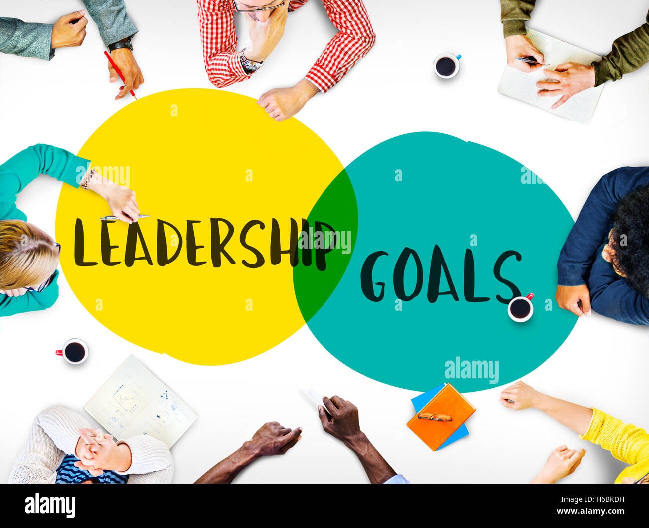 Los objetivos de liderazgo Ideas motivación concepto Círculos Foto de stock