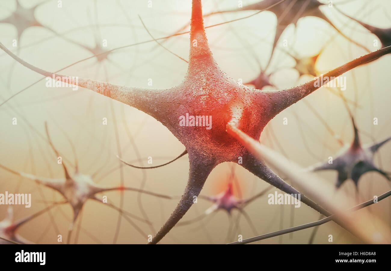 Neurone activo - 3D rendering Imagen De Stock