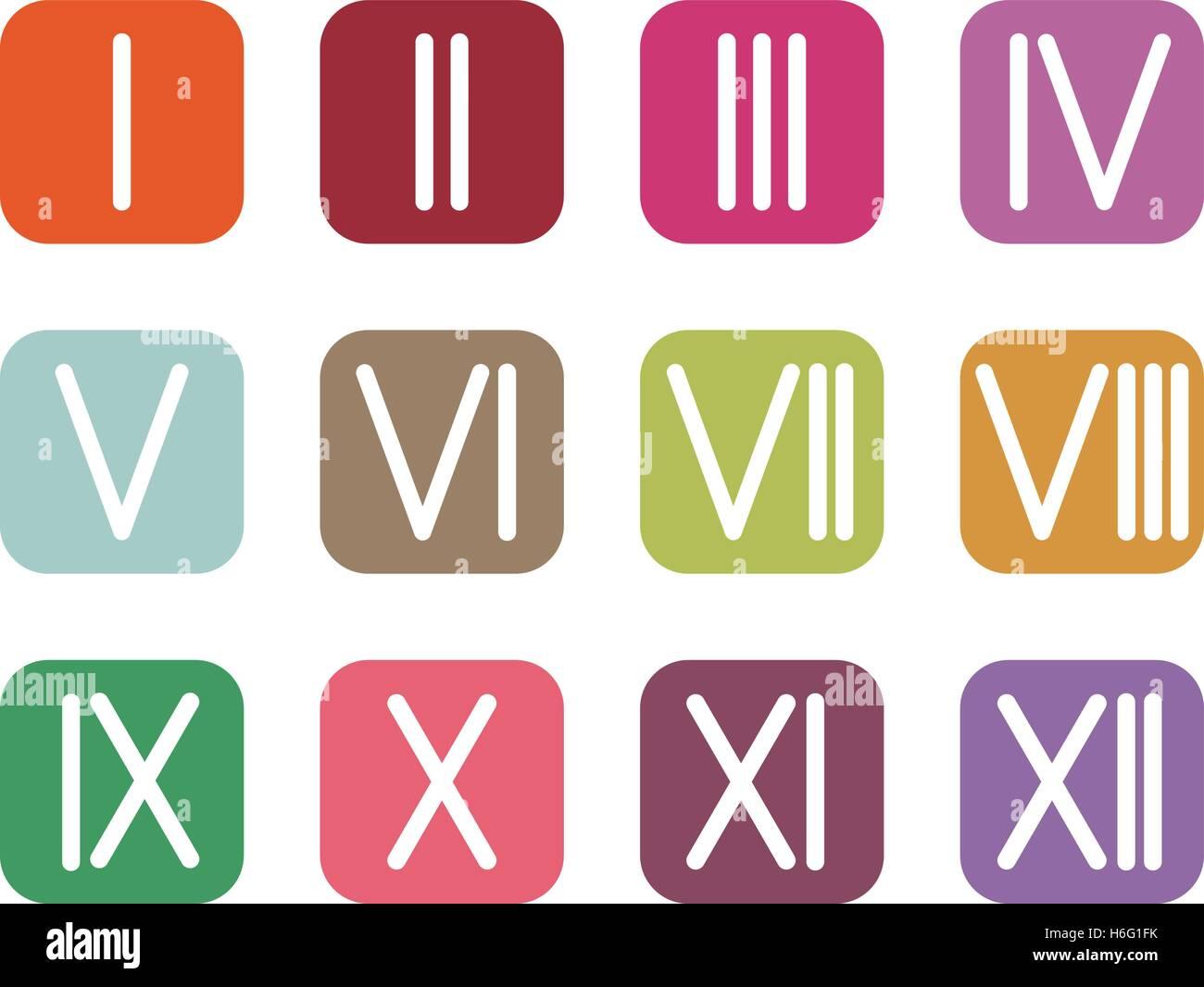 Establecer Números Romanos 1 12 Icono 12 Botones De Colores