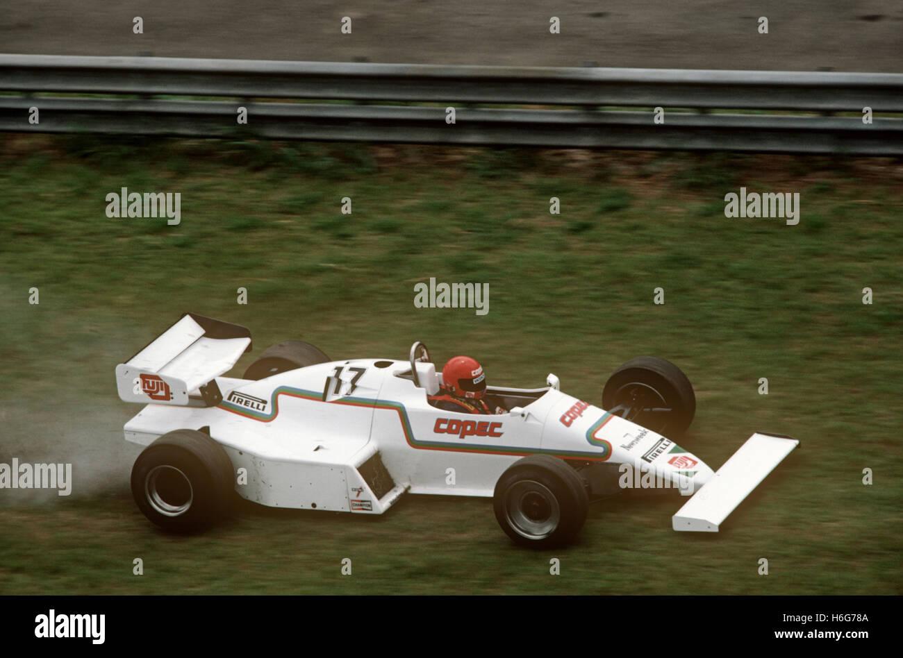 Eliseo Salazar, de marzo de 1983 GP de Brasil en Río Sudamericano de fórmula especial sobre hierba en Imagen De Stock