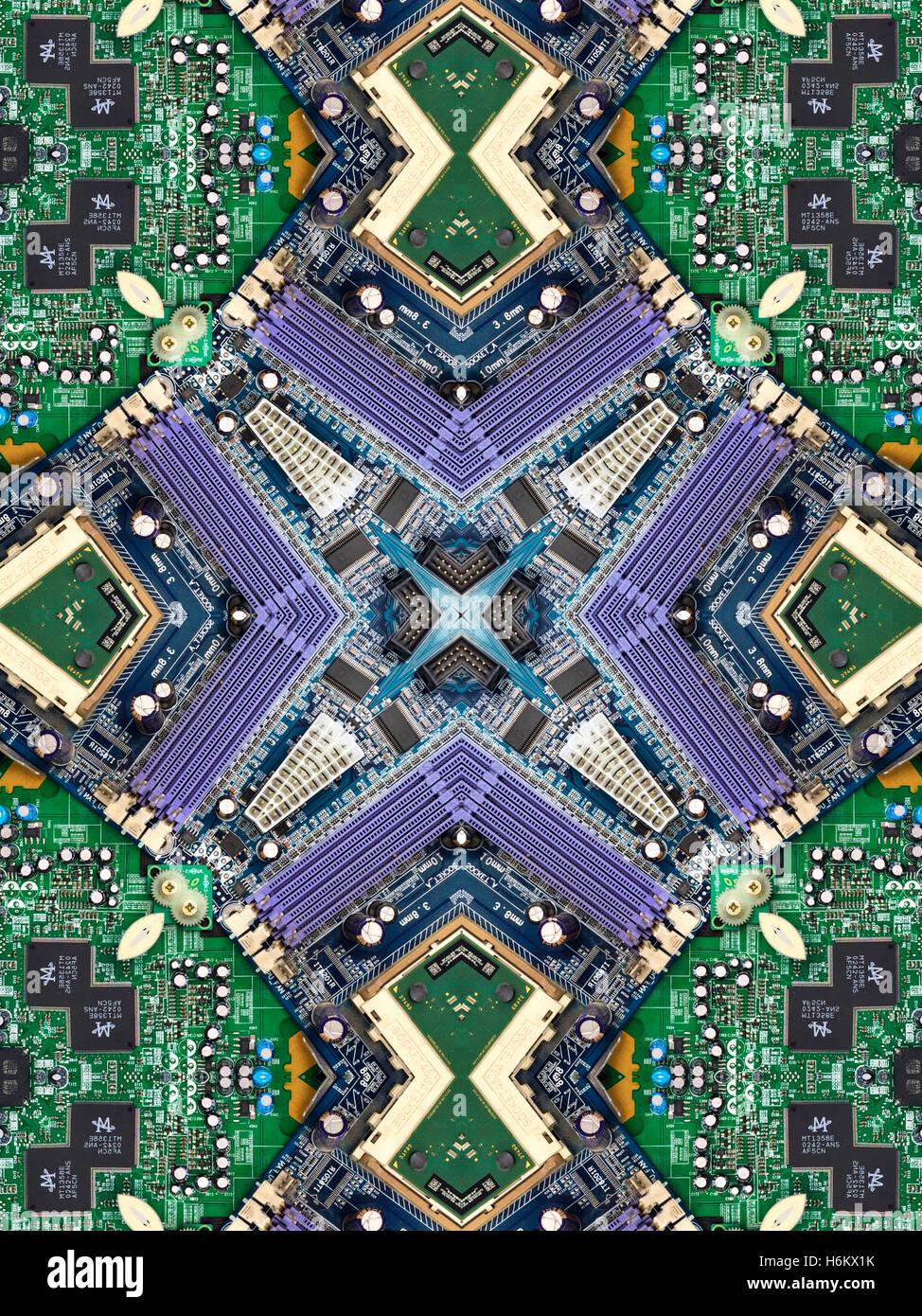 Un caleidoscopio imagen realizada desde el interior de un ordenador - su motherboard, chip de computadora, y los Imagen De Stock