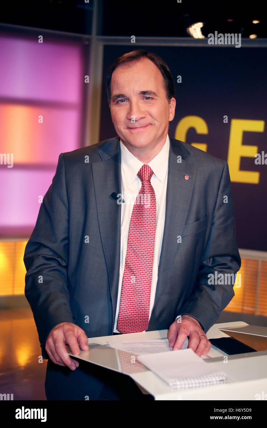 STEFAN LöFVÉN Político sueco en el debate político en la televisión sueca 2012 Imagen De Stock
