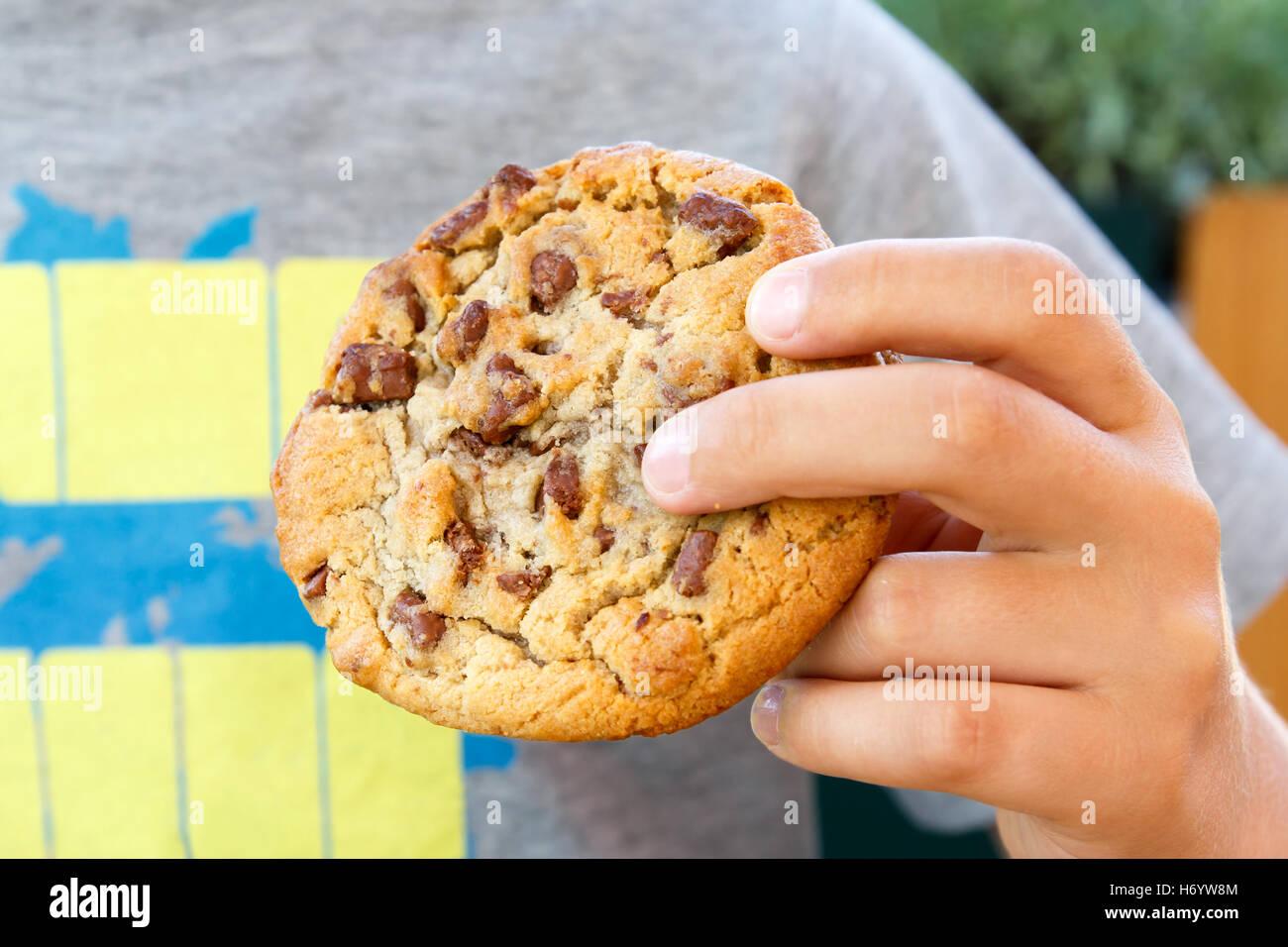 Niño sosteniendo gran galleta de chocolate caseras. Imagen De Stock