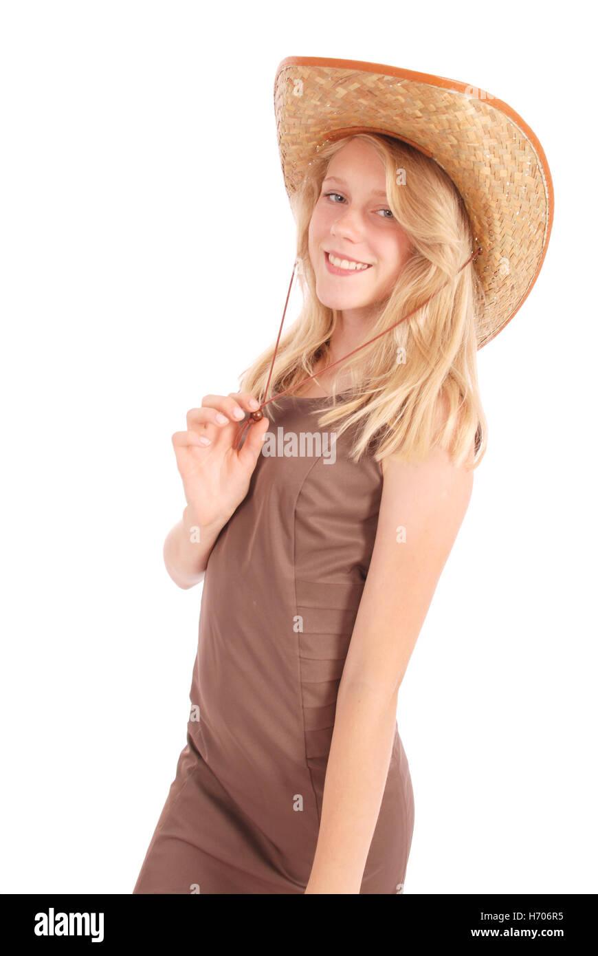 Bonitas Chicas De 13 Años Vistiendo Un Gran Sombrero De Paja