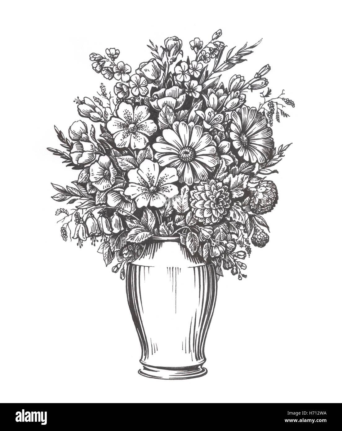 Vintage jarrón con flores. Ilustración boceto dibujados a mano Imagen De Stock
