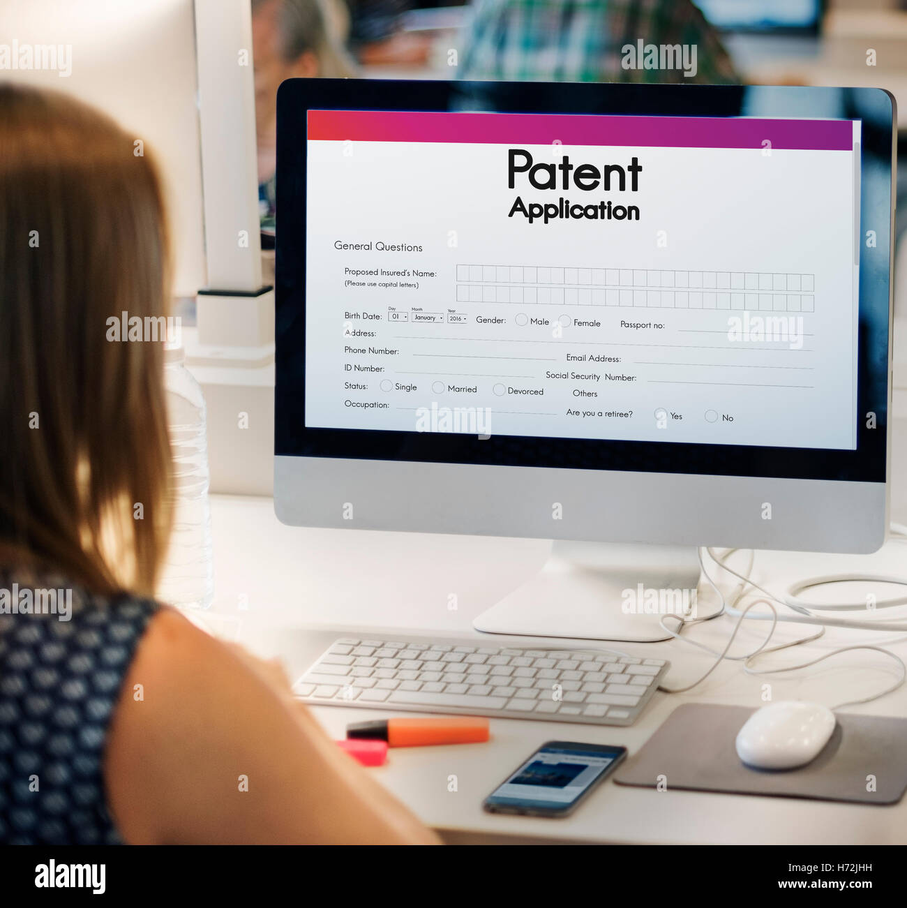 La protección de las patentes de propiedad intelectual Conept Foto de stock