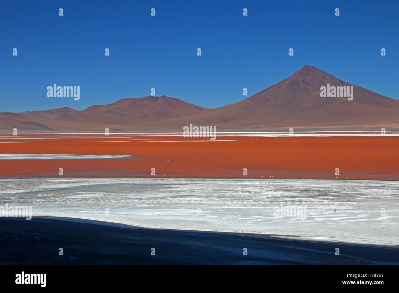 El bonito color rojo de la Laguna Colorada, en el sur de Bolivia, Sudamérica Imagen De Stock