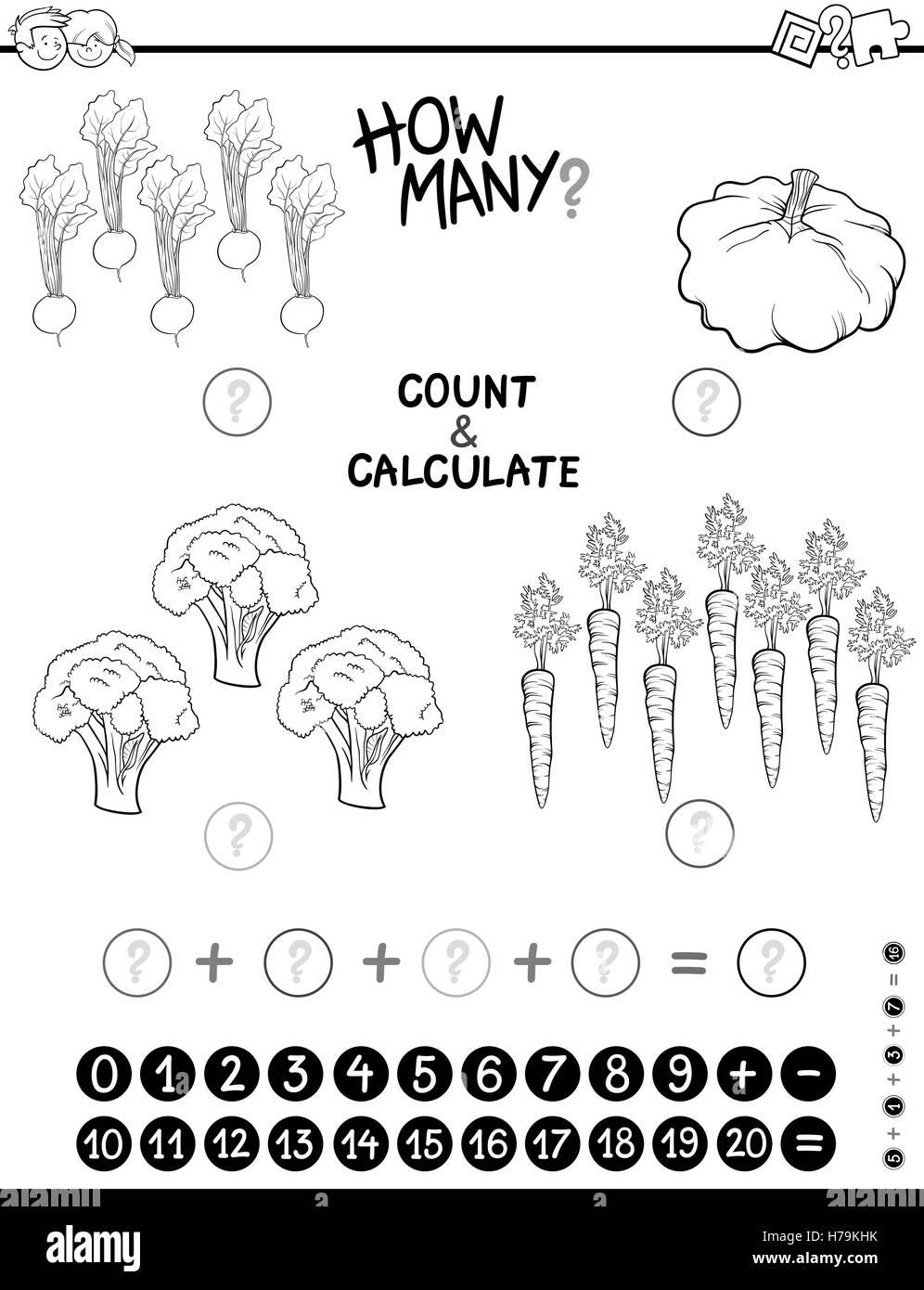 Ilustración Caricatura En Blanco Y Negro De Recuento De Matemática