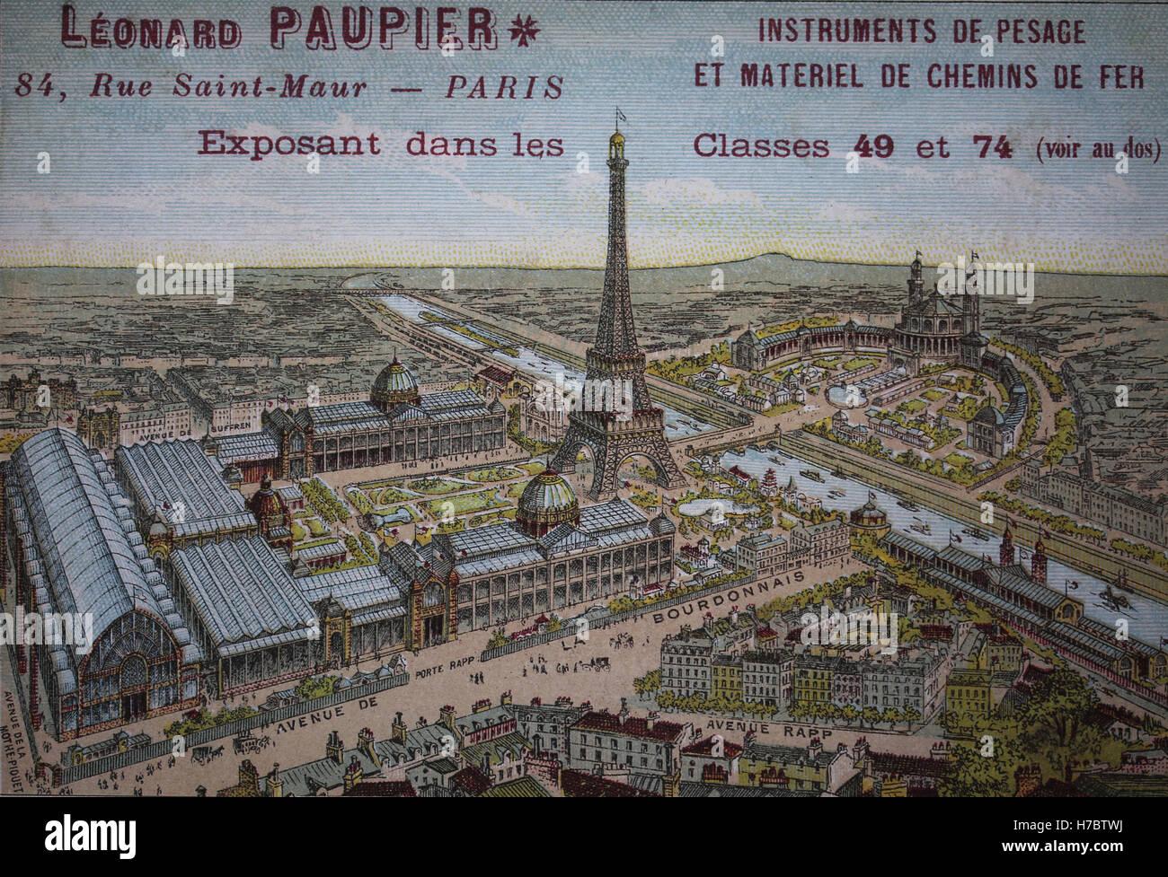 Francia. París. Vista de la feria mundial de París de 1889, con la Torre Eiffel y el Trocadero Palace. Imagen De Stock