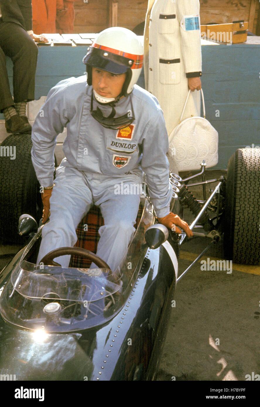 1965 motor escocés británico Jackie Stewart Racing coche BRM Cockpit Imagen De Stock