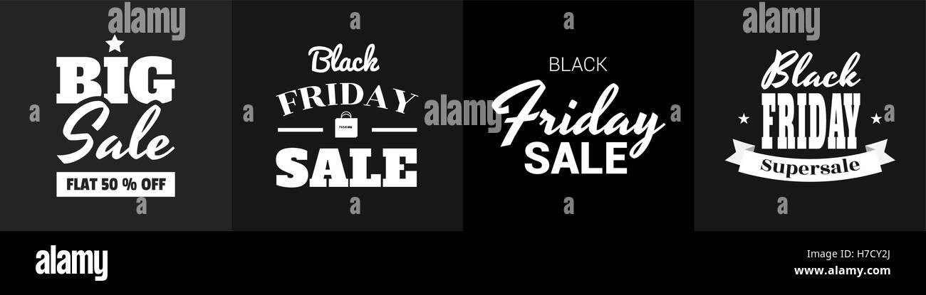 Un conjunto de banners para el Viernes negro venta. Rotulación en estilo retro. Venta, liquidación Showcase. Volantes Ilustración del Vector