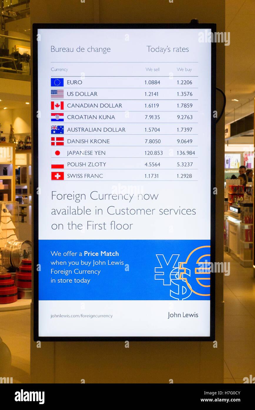 Visualización de tasas de cambio para la oficina de cambio servicios operados a un John Lewis department store de Foto de stock