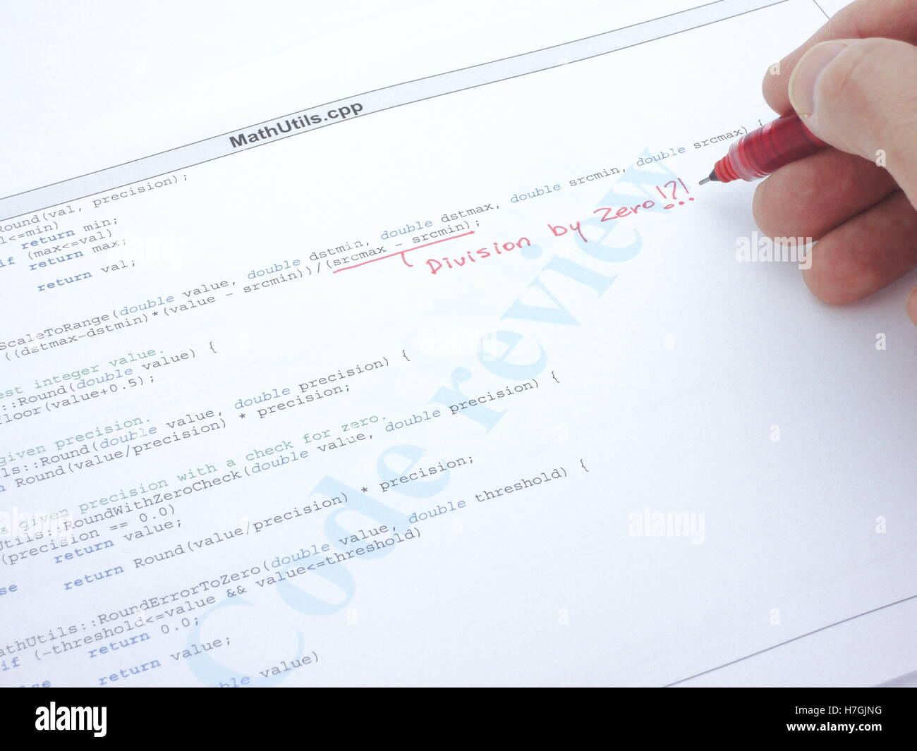 Revisión de código de un programa de C++. Un error de división por cero. Imagen De Stock
