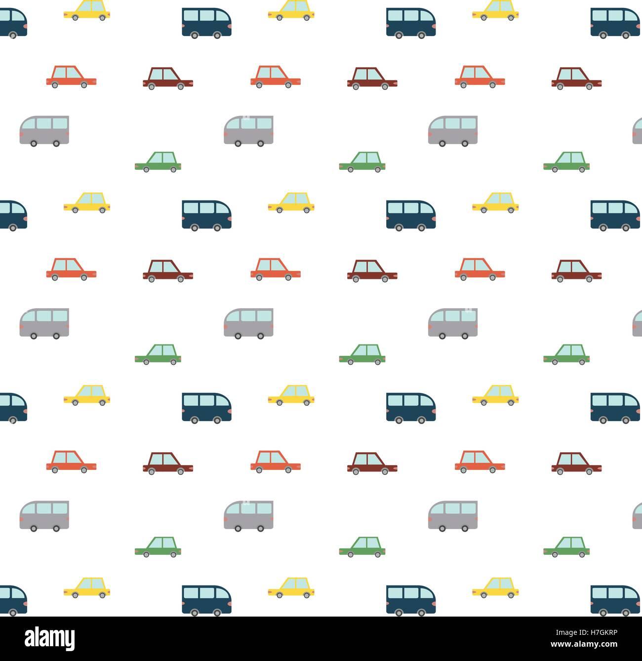 Retro Cars patrón azul Imagen De Stock