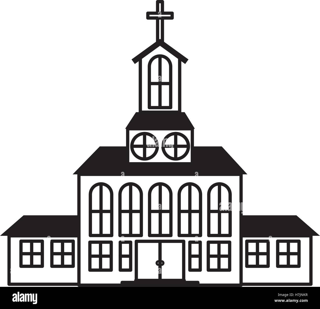 Silueta de la Iglesia, icono de edificio sobre fondo blanco. ilustración vectorial Ilustración del Vector