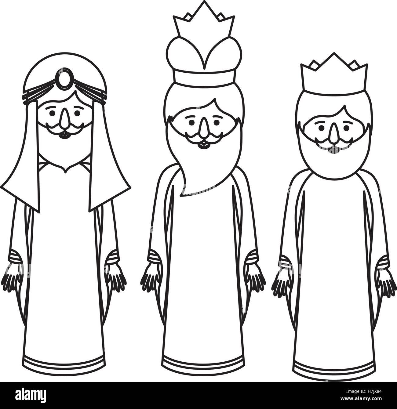 Los Tres Hombres Sabios Dibujos Animados Icono Feliz Día De La