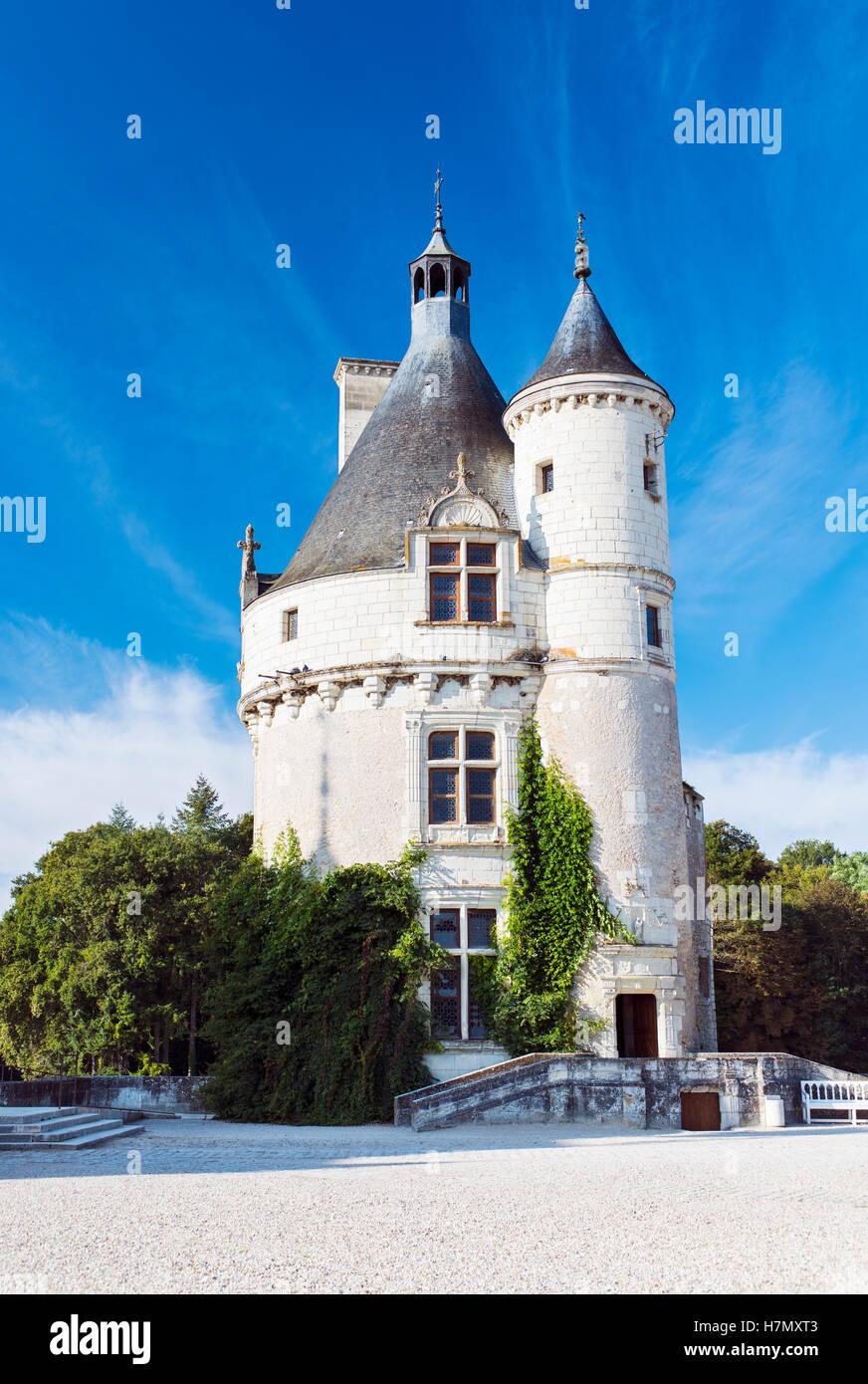 El castillo original mantener al Château de Chenonceau, cerca del pueblo de Chenonceaux, en el Valle del Loira Imagen De Stock