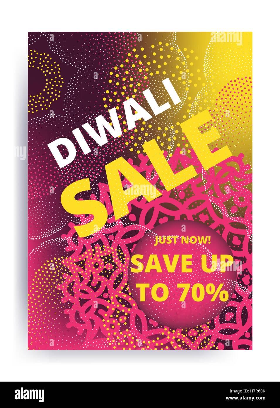 El Festival de Diwali vectorial ofrecen diseño de carteles de venta de plantilla con brillantes luces de color Imagen De Stock
