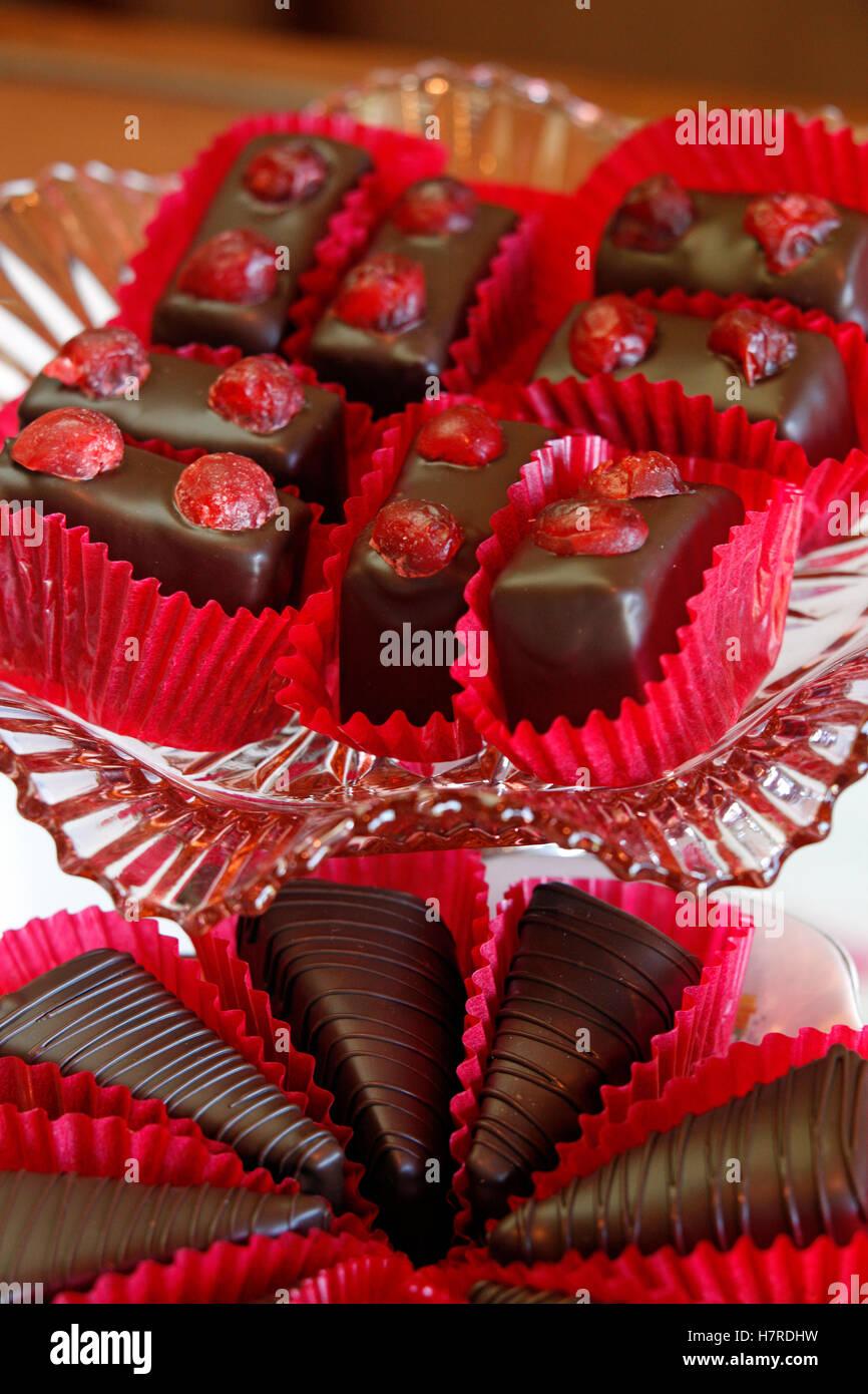 Mostrar en rosado resplandor Chocolates, Collingwood Imagen De Stock